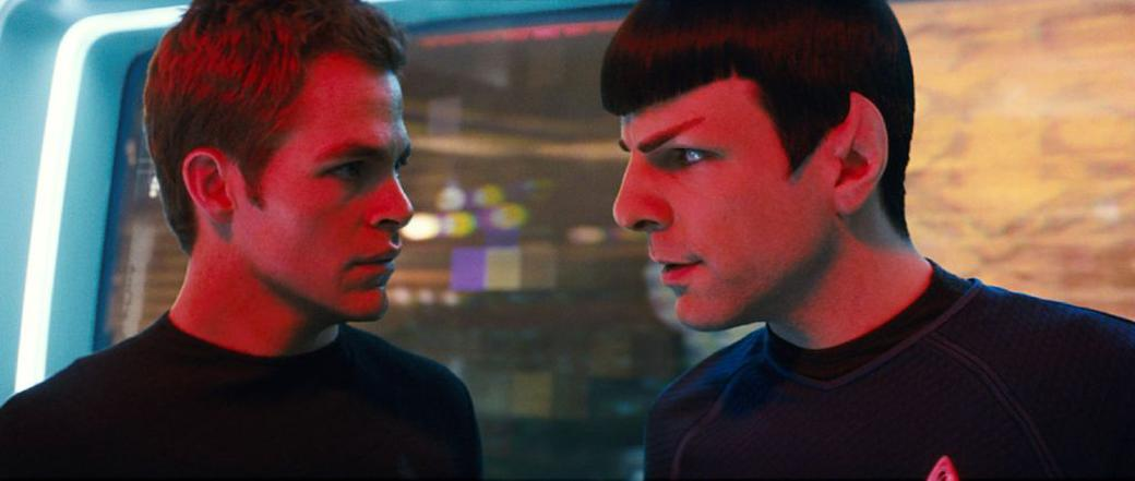 Chris Pine as James T. Kirk and Zachary Quinto as Spock in