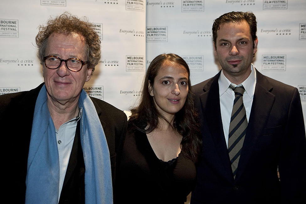Geoffrey Rush, Tatia Rosenthal and Emile Sherman at the Melbourne premiere of