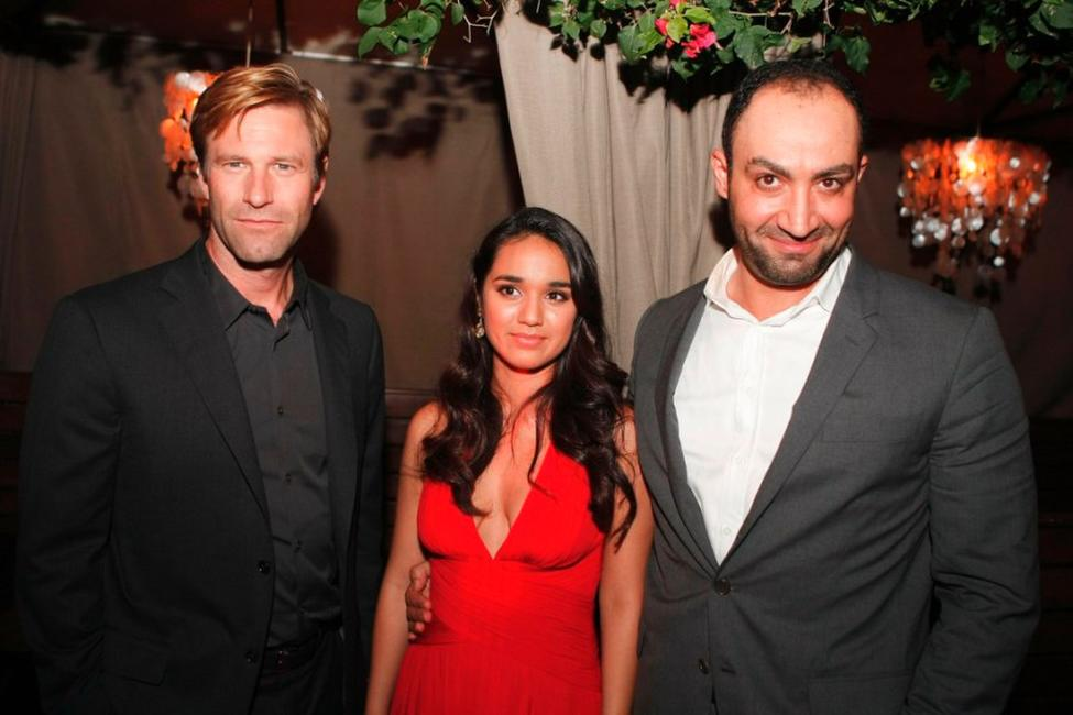 Aaron Eckhart, Summer Bishil and Peter Macdissi at the after party of the premiere of