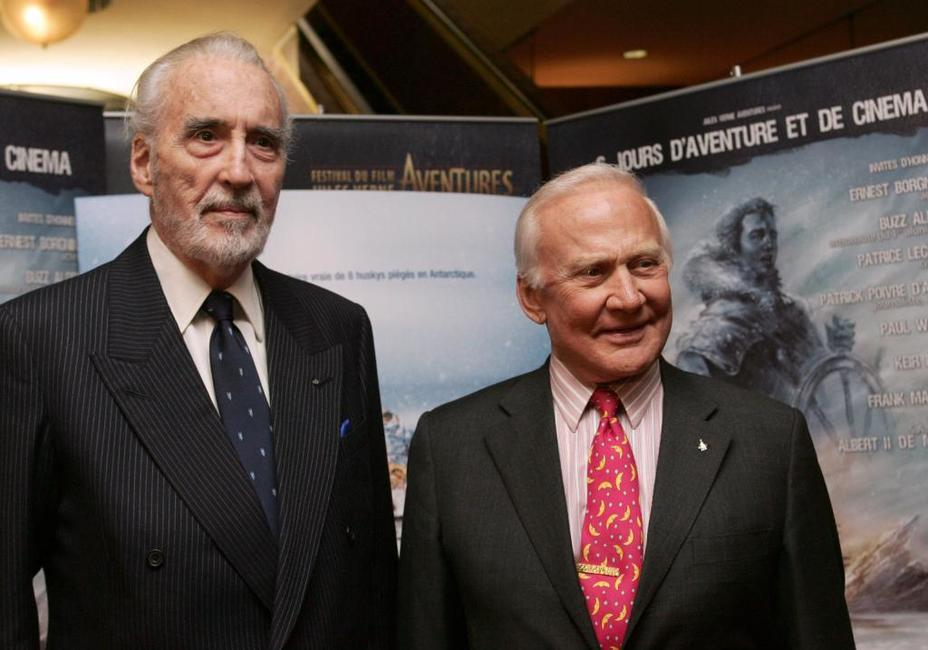 Christopher Lee and Buzz Aldrin at the Jules Verne Film Festival.