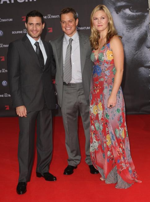 Edgar Ramirez, Matt Damon and Julia Stiles at the German premiere of