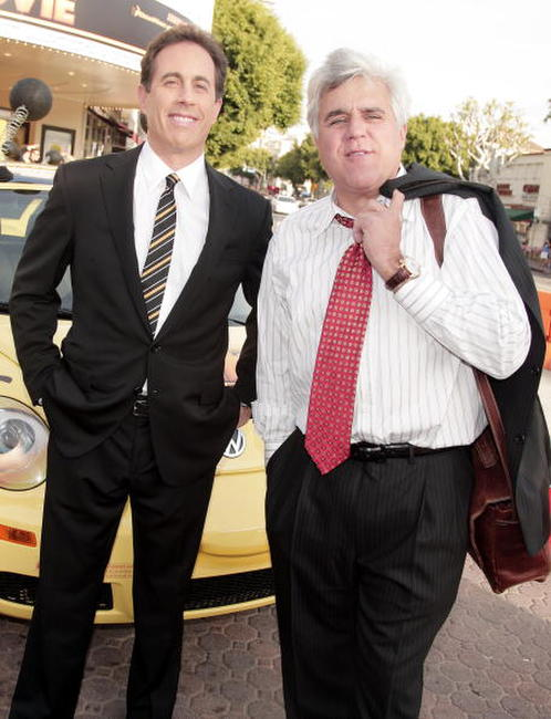 Jerry Seinfeld and Jay Leno at the premiere of