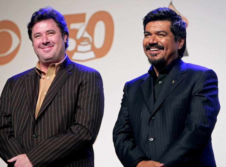 Vince Gill and George Lopez at the 50th annual Grammy Award Nominations.
