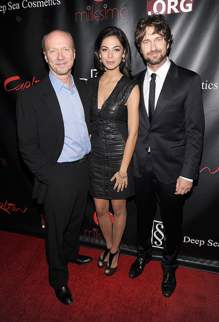 Filmmaker Paul Haggis, Moran Atias and Gerard Butler at the Artists for Peace and Justice's