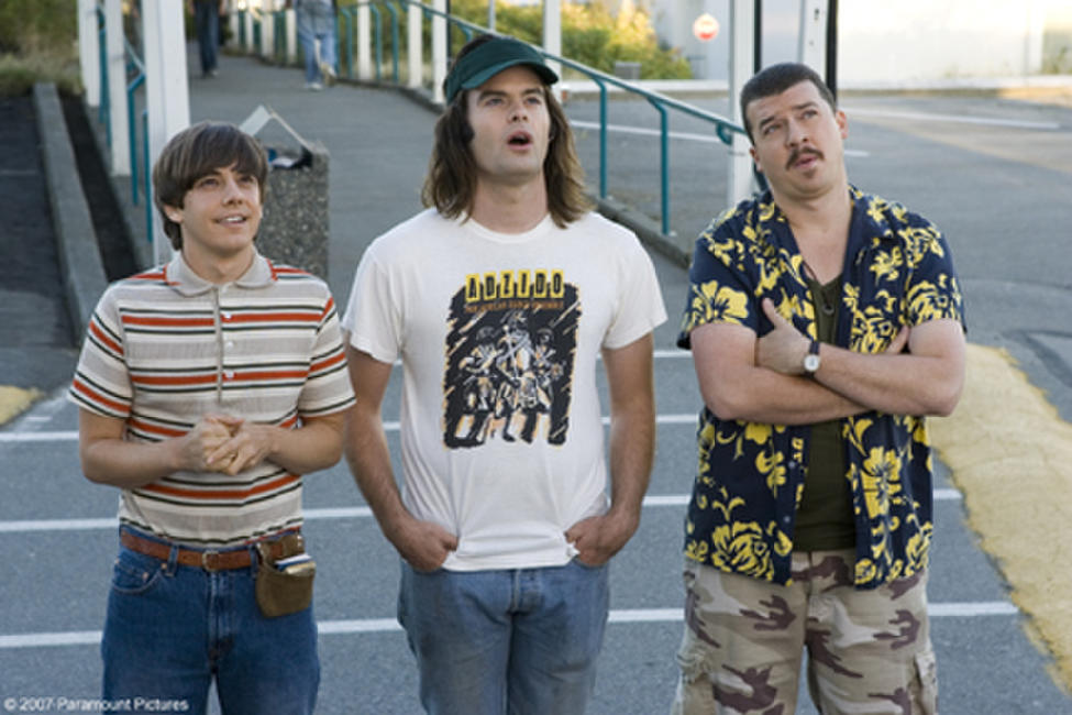 Kevin Powell (Jorma Taccone), Dave (Bill Hader) and Rico (Danny McBride) watch their friend Rod's stunt jump in