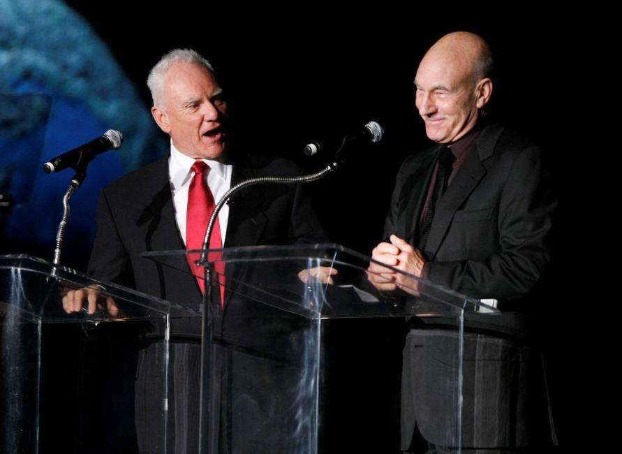 Malcolm McDowell and Patrick Stewart at the Jules Verne Adventure Film Festival Special Awards Presentation.