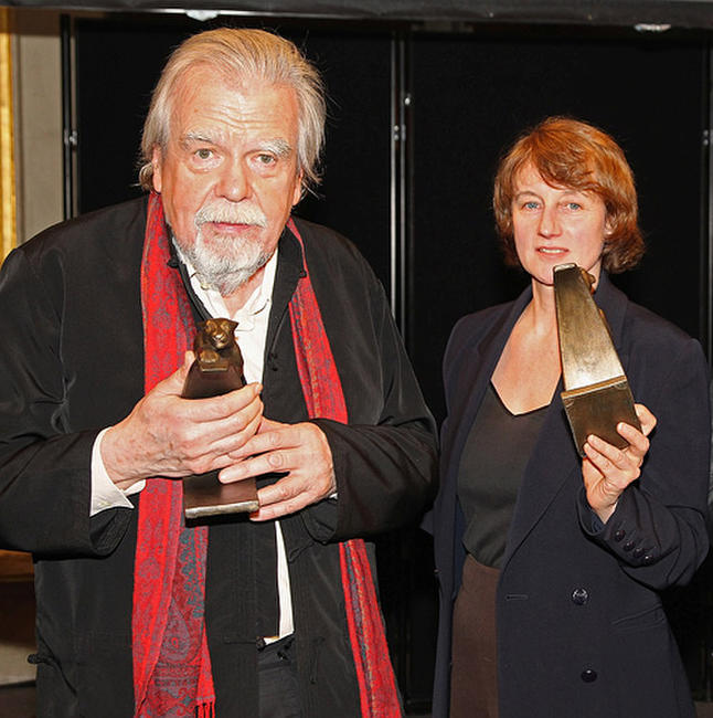 Michael Lonsdale and Caroline Champetier at the 16th Cerememonie Des Lumieres in France.