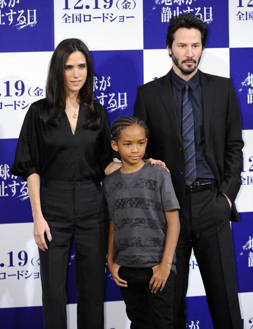 Jennifer Connelly, Jaden Smith and Keanu Reeves at the press conference of