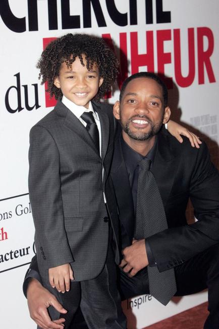 Jaden Smith and Will Smith at the premiere of