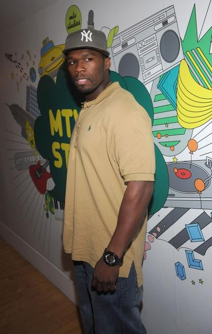 Curtis Jackson at the taping of MTV's TRL.