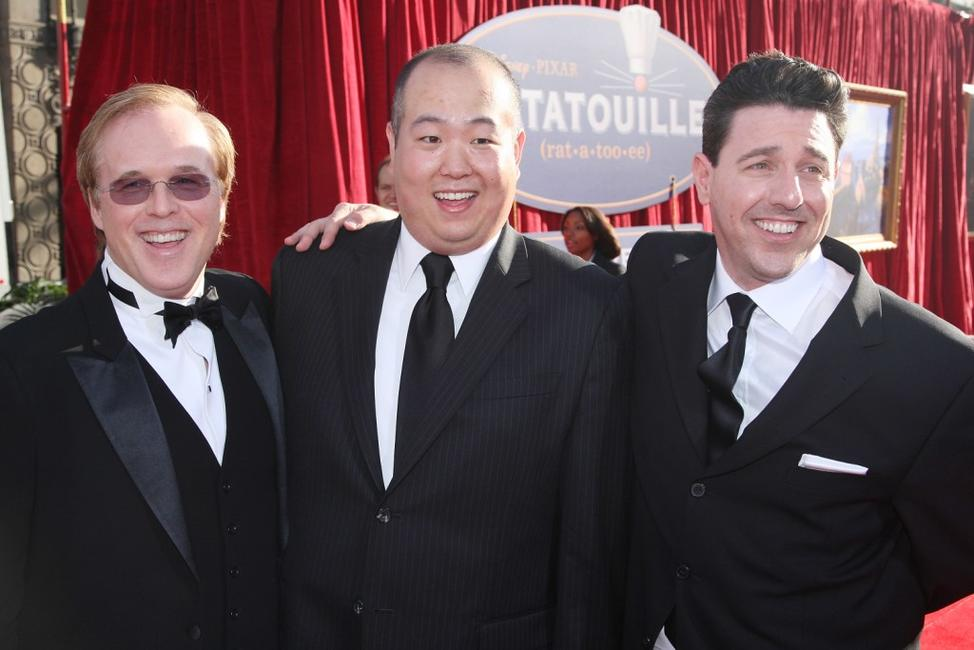 Director Brad Bird, Peter Sohn and Lou Romano at the premiere of