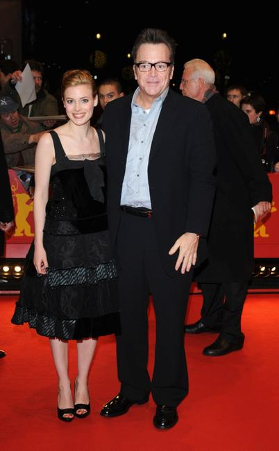 Gillian Jacobs and Tom Arnold at the premiere of