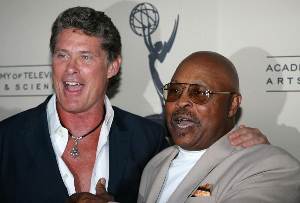 Roger E. Mosley and David Hasslehoff at the Academy of Television Arts and Sciences and the Stunts Peer Group Emmy Nominee Party for Stunt Coordination.