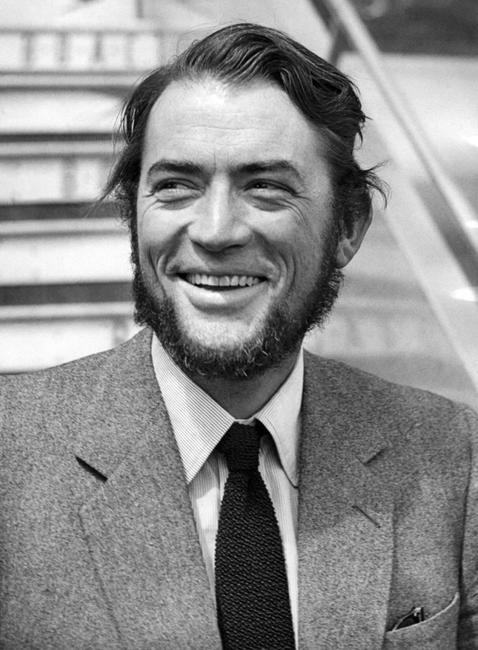 Gregory Peck at London Airport on his arrival from New York.