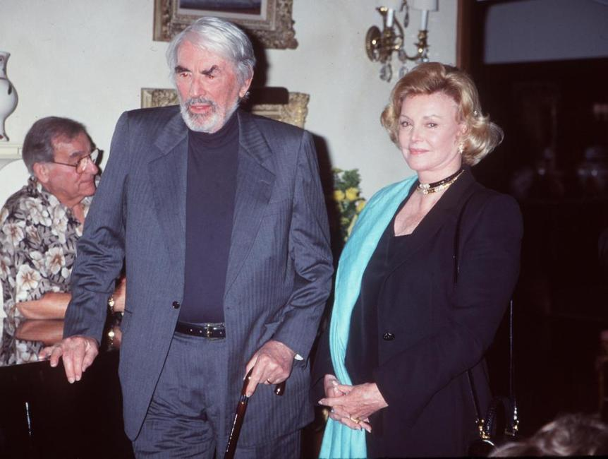 Gregory Peck and Barbara Sinatra at the Beverly Hilton Hotel for a musical celebration honoring Liza Minnelli.