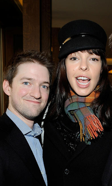 Composer Stephen Barton and Pollyanna McIntosh at the UK Film Council US Post Oscars Brunch in California.