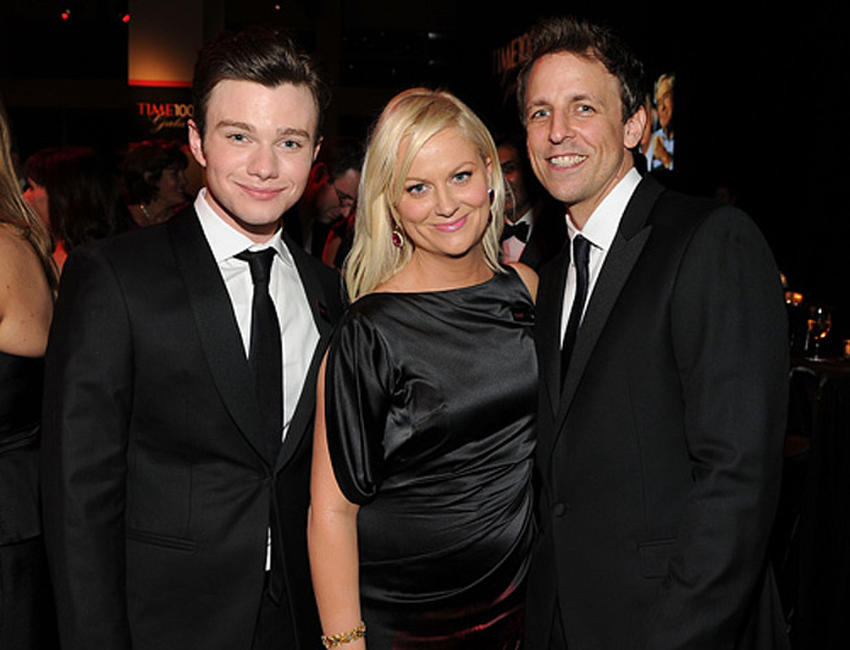 Chris Colfer, Amy Poehler and Seth Meyrs at the Cocktail party of TIME 100 Gala, TIME'S 100 Most Influential People In The World.