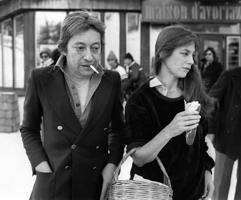 Jane Birkin with her husband Serge Gainsbourg in Avoriaz.