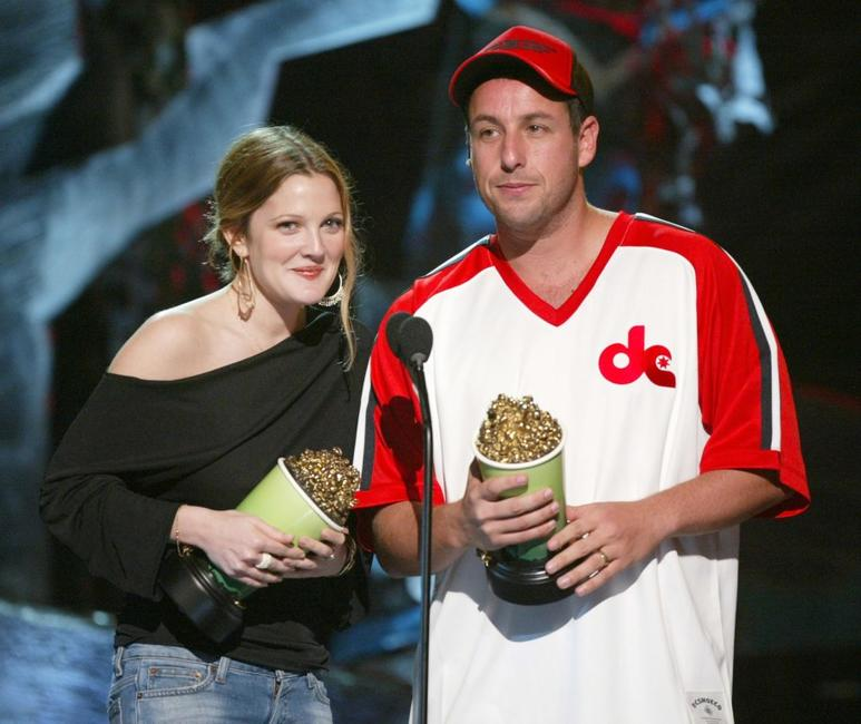 Drew Barrymore and Adam Sandler at the 2004 MTV Movie Awards.
