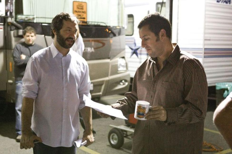 Writer/director/producer Judd Apatow and Adam Sandler on the set of