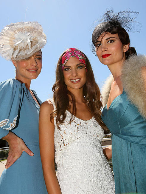 Chrissy Cauchi, Shoona Stanes and Alice Parkinson at the 2010 Melbourne Cup Launch in Australia.
