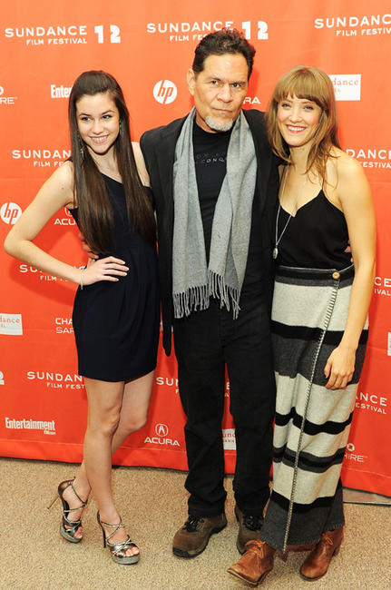 Savannah Lathem, A. Martinez and Alexia Rasmussen at the premiere of