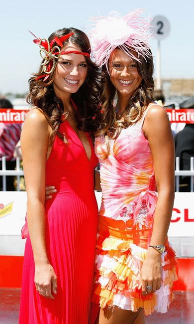 Jodi Gordon and Sharni Vinson at the Junior Kids Fashions on the Field event during the 2005 Emirates Stakes Day.