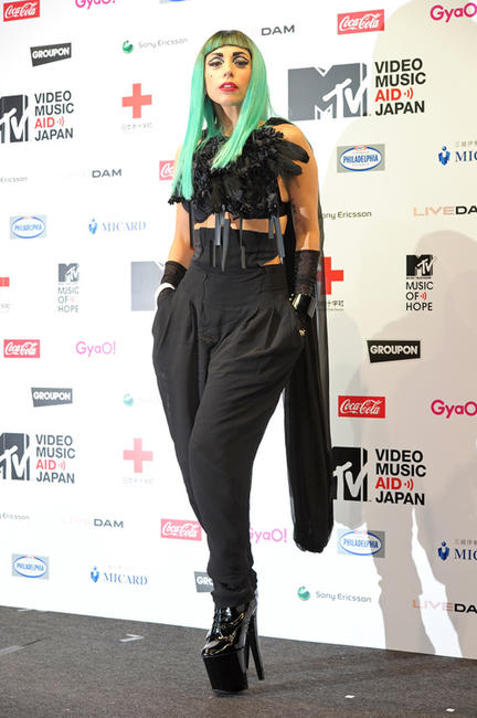 Lady Gaga at the MTV Video Music Aid Japan press conference in Tokyo.