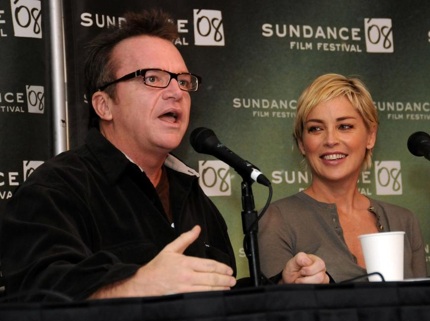 Sharon Stone and Tom Arnold at the 2008 Sundance Film Festival press conference for