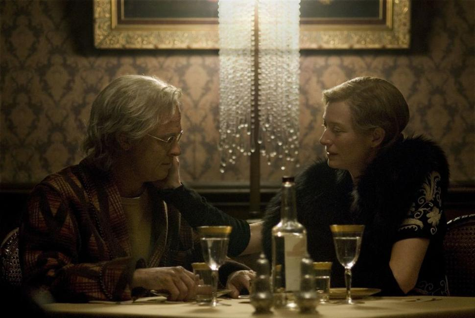 Brad Pitt as Benjamin Button and Tilda Swinton as Elizabeth Abbott in