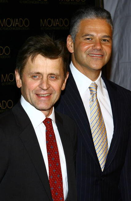 Mikhail Baryshnikov and Movado Efraim Grinberg at the celebration for Movado's 60 years of modern design at the Cooper-Hewitt National Design Museum.