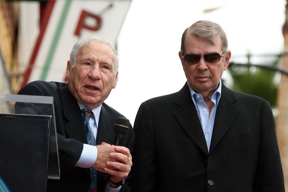 Mel Brooks and Alan Ladd Jr. at the Hollywood Walk Of Fame.