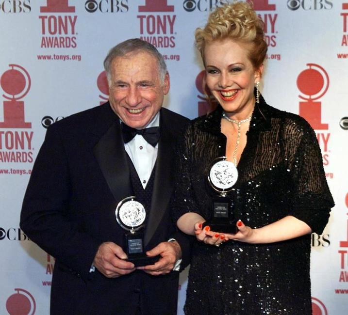 Mel Brooks and Susan Stroman at Radio City Music Hall in New York receiving their Tony awards for