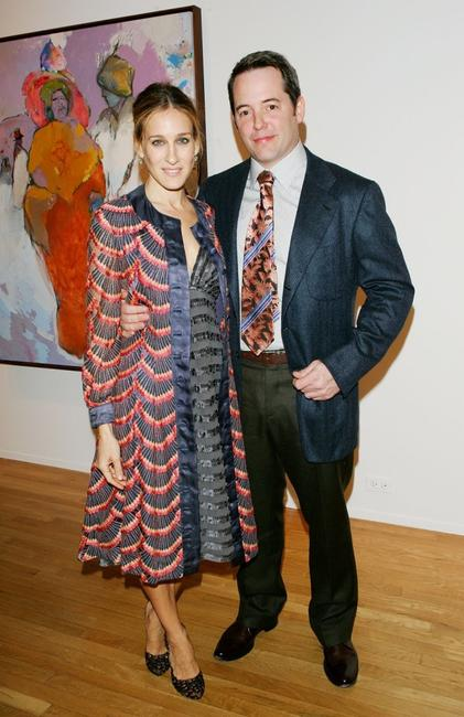 Matthew Broderick and wife Sarah Jessica Parker at the artwork of Patricia Broderick.