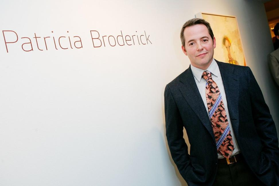 Matthew Broderick at the artwork of his mother Patricia Broderick.