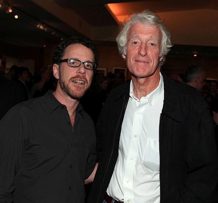 Director Ethan Coen and Roger Deakins at the after party of the screening of