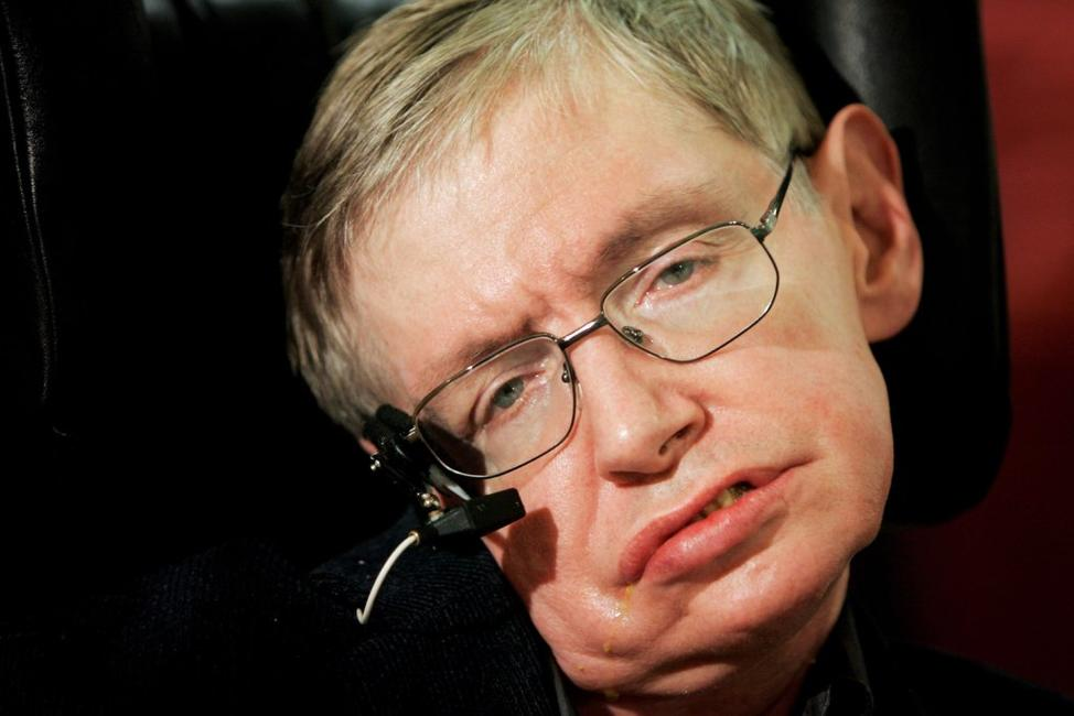 Stephen Hawking at the release of
