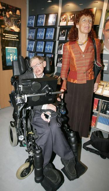Stephen Hawking and his wife Elaine Mason at the Frankfurt Book Fair.