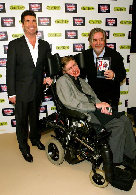 Producer Simon Cowell, Stephen Hawking and Matt Groening at the