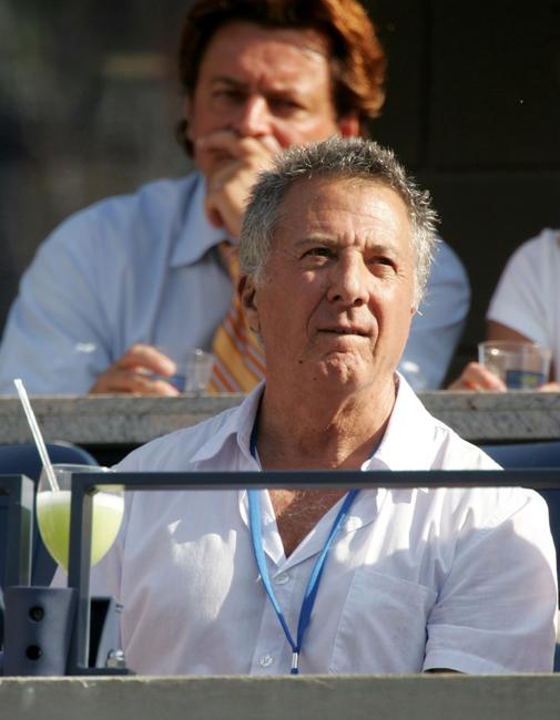 Dustin Hoffman at the men's final between Andre Agassi and Roger Federer at the US Open.