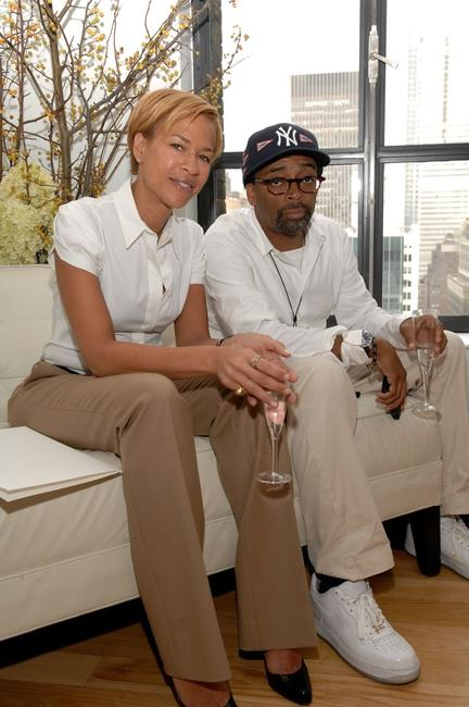 Spike Lee and Tonya Lewis at the Kai Milla 2008 Fashion Show at he Bryant Park Hotel for the Mercedes-Benz Fashion Week Spring 2008.