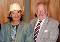 Carlos Santana and Oscar Goodman at the Hard Rock Hotel & Casino to celebrate the new USD 60 million concert venue's completion.