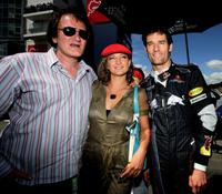 Quentin Tarantino, Zoe Bell and Mark Webber at the European Grand Prix.