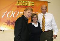 David Caruso, Ann Donahue and Rex Linn at the CSI Miami 100th Episode Cake Cutting at Raleigh Studios.