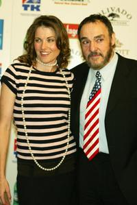 Lucy Lawless and John Rhys-Davies at the pre-oscar dinner to celebrate New Zealand's film making and creative talent.