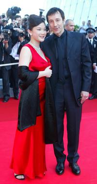 Jean-Hugues Anglade and companion at the opening ceremony at the 55th International Film Festival.