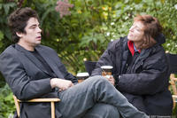 Benicio Del Toro and  director Susanne Bier on the set of