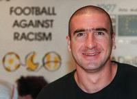 Eric Cantona at the press conference to present a soccer match against racism.