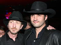 Frank Miller and Robert Rodriguez at the Miller's birthday party.