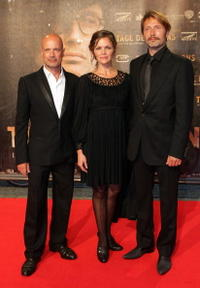 Christian Berkel, Stine Stengade and Mads Mikkelsen at the German premiere of